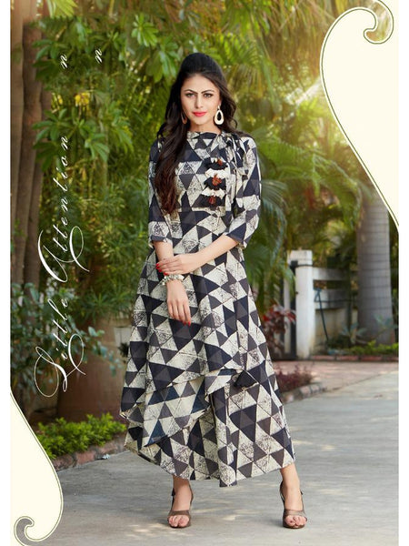 Designer Grey and Cream Color Printed Rayon Gown Cum Anarkali Kurti