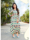 Designer Beige Color Printed Rayon Gown