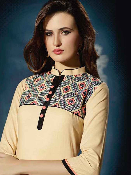 Peach Designer cotton Kurti - PurpleTulsi.com  - 1