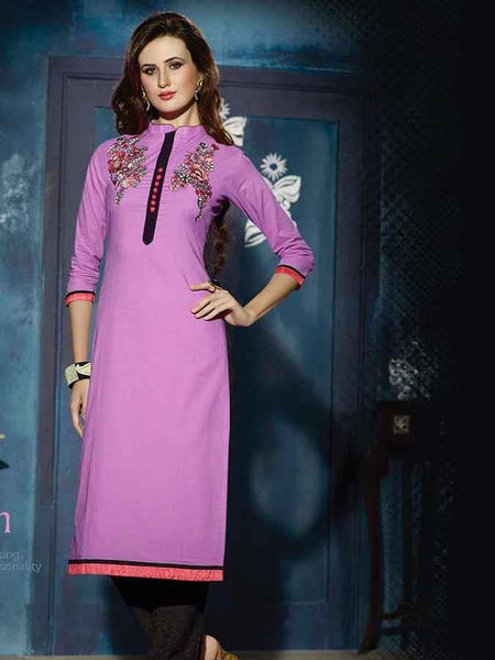 Purple Designer cotton Kurti - PurpleTulsi.com  - 1