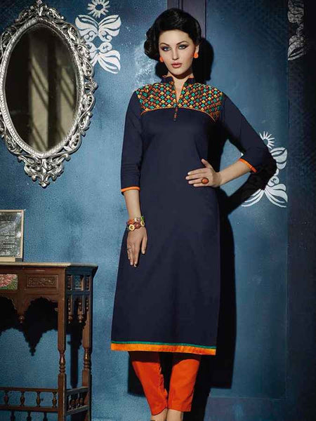 Dark Navy Blue Designer cotton Kurti - PurpleTulsi.com  - 1