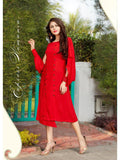 Designer Stylish Red Rayon Slub Gown cum Anarkali Kurti