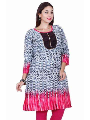 White and Pink Cotton Kurti - PurpleTulsi.com