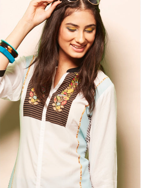 White and Sky Blue Rayon Kurti