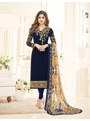 Real  Georgette Multicolor Blue Straight Cut Suit With Chiffon Dupatta