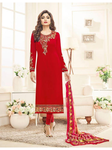 Real  Georgette Multicolor Red Straight Cut Suit With Chiffon Dupatta