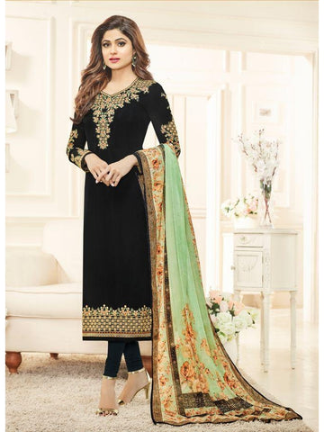 Real  Georgette Multicolor Black Straight Cut Suit With Chiffon Dupatta