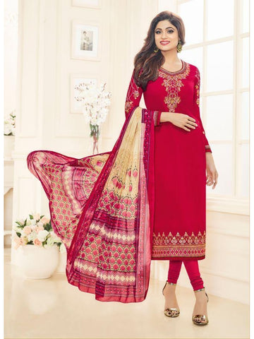 Real  Georgette Multicolor Magenta Straight Cut Suit With Chiffon Dupatta