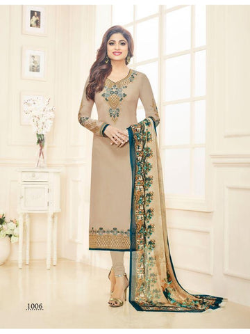 Real  Georgette Multicolor Beige Straight Cut Suit With Chiffon Dupatta