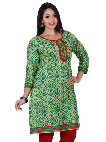 Green Cotton Kurti - PurpleTulsi.com