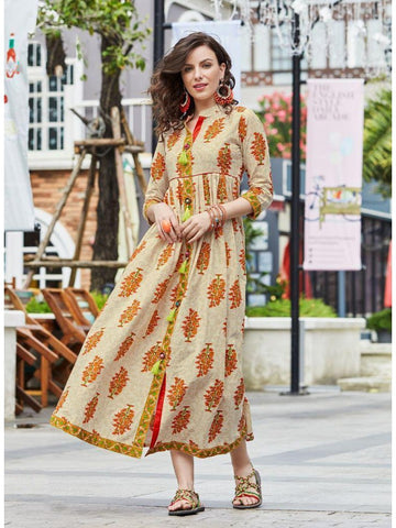 Specially Designed Beige Color Empire Waist Kurtis