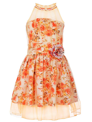 Orange Trendy Dress for Girls