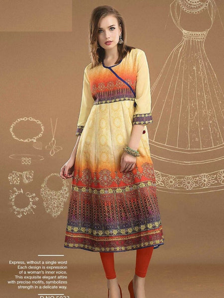 Blond Yellow and Multicolour Anarkali Kurti - PurpleTulsi.com