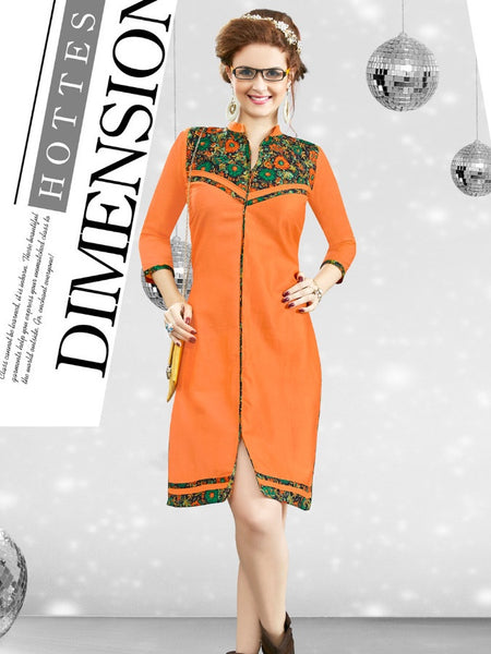 Tangerine Orange Kurti - PurpleTulsi.com  - 1