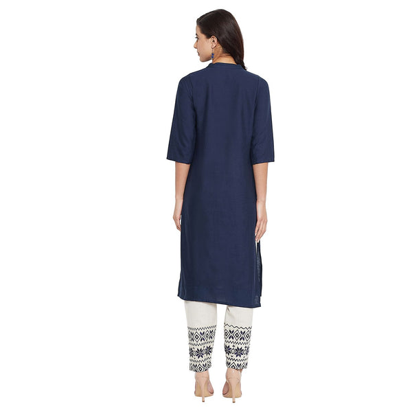 Navy Blue Cotton Embroidered Straight Kurti with Pant