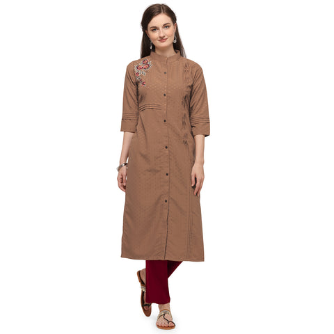 Brown Soft Silk Hand Worked Kurti with Pant