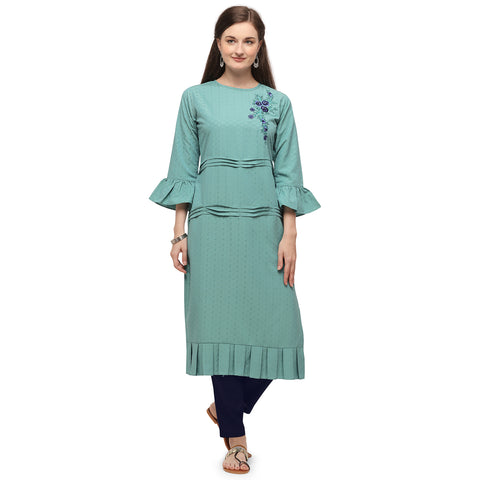 Sea Green Soft Silk Hand Worked Kurti with Pant