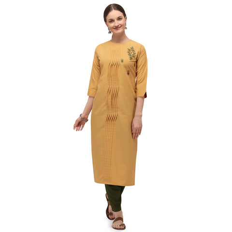 Mustard Soft Silk Hand Worked Kurti with Pant