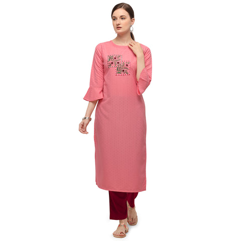 Pink Soft Silk Hand Worked Kurti with Pant