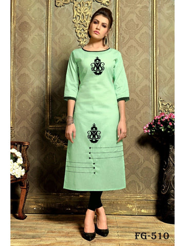 Designer Light Green Color Khadi Cotton Long Straight Cut Kurti