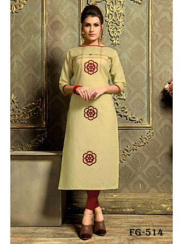 Designer Beige Color Khadi Cotton Long Straight Cut Kurti