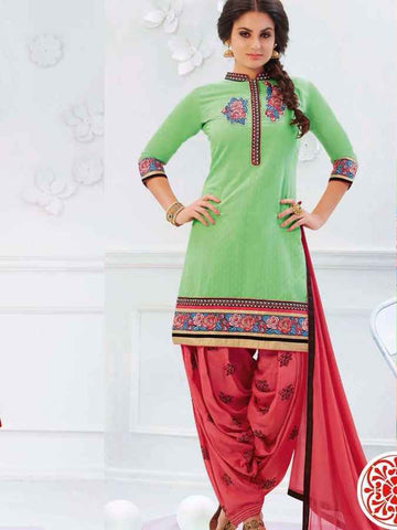 Trendy Green Patiala Suit - PurpleTulsi.com