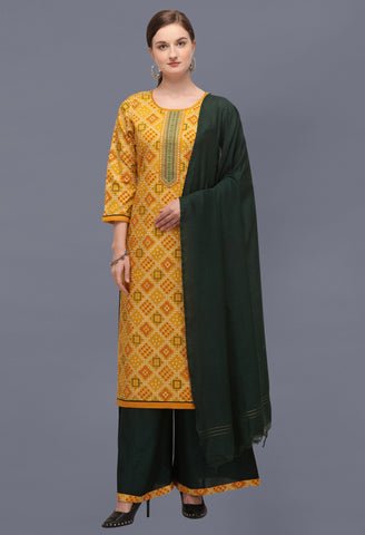 Mustard Cotton Blend Bandhani Printed and Embroidered Straight Cut Suit