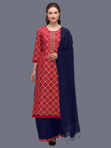 Red Cotton Blend Bandhani Printed and Embroidered Straight Cut Suit