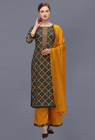 Green Cotton Blend Bandhani Printed and Embroidered Straight Cut Suit