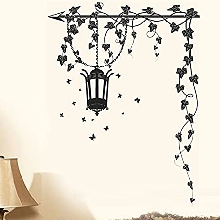 Attractive Wall Stickers Hanging Lamp and Black Vines