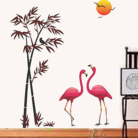 Attractive Wall Stickers Flamingos and Bamboo at Sunset
