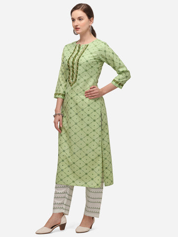 Parrot Green Cotton Blend Block Printed Kurti with Pant