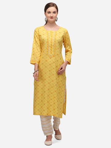 Yellow Cotton Blend Block Printed Kurti with Pant