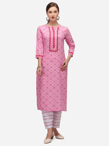 Pink Cotton Blend Block Printed Kurti with Pant