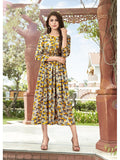 Designer Multi Color Printed Rayon Gown Cum Anarkali Kurti