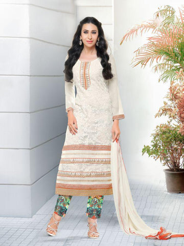 Karishma Style White Net Straight Cut Suit with Contrast Dupatta