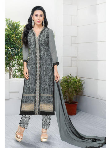 Karishma Style Grey Net Straight Cut Suit with Contrast Dupatta