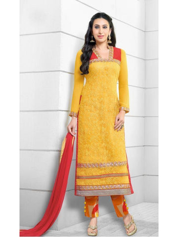 Karishma Style Yellow Net Straight Cut Suit with Contrast Dupatta