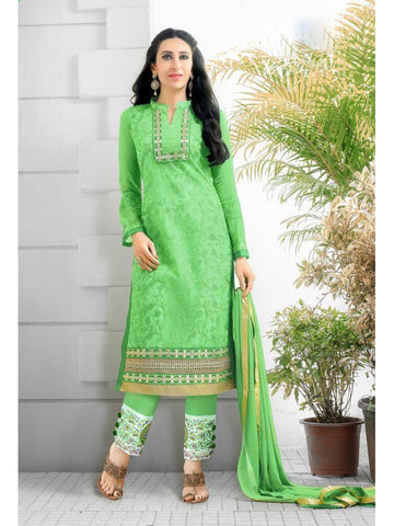 Karishma Style Light Green Net Straight Cut Suit with Contrast Dupatta