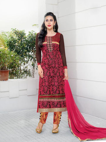 Karishma Style Maroon Net Straight Cut Suit with Contrast Dupatta