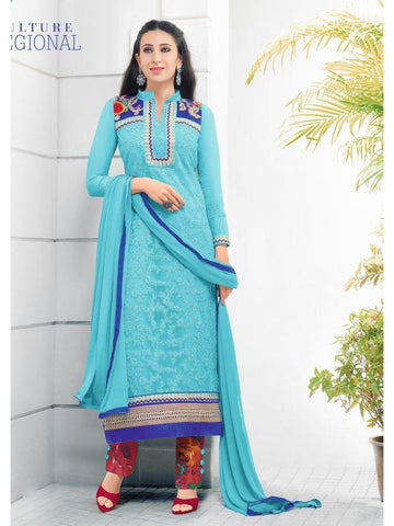 Karishma Style Sky Blue Net Straight Cut Suit with Contrast Dupatta