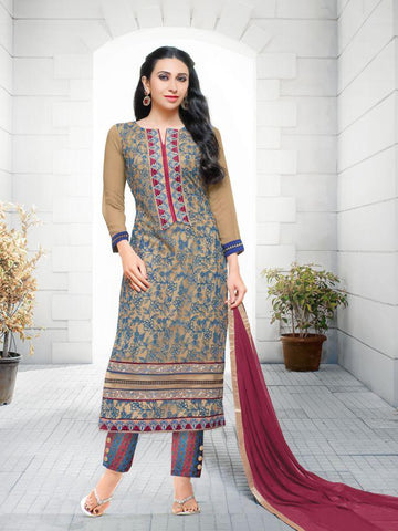 Karishma Style Beige Net Straight Cut Suit with Contrast Dupatta