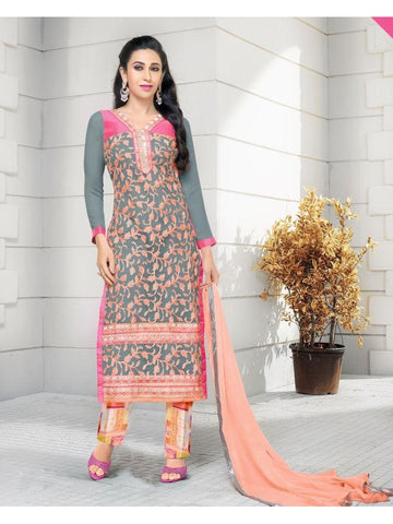 Karishma Style Grey and Pink Net Straight Cut Suit with Contrast Dupatta