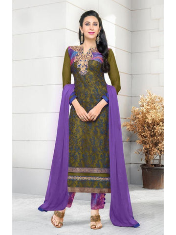 Karishma Style Mehendi Color Net Straight Cut Suit with Contrast Dupatta