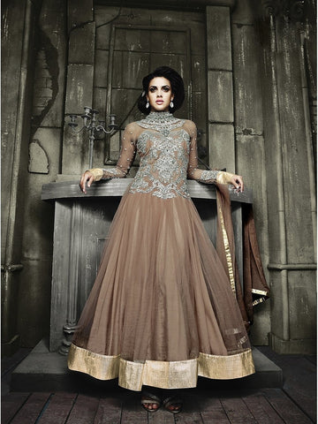 Stylish Chocolate Brown Color Embroidered Georgette Anarkali Suit