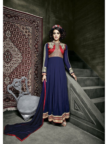 Stylish Red and Blue Color Embroidered Georgette Anarkali Suit