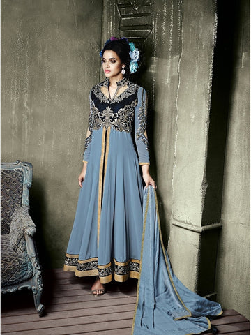 Stylish Grey Shaded Front Slit Embroidered Georgette Anarkali Suit