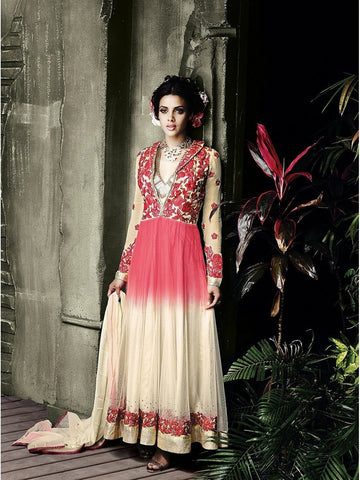 Stylish Beige and Peach Color Collar Neck Embroidered Georgette Anarkali Suit