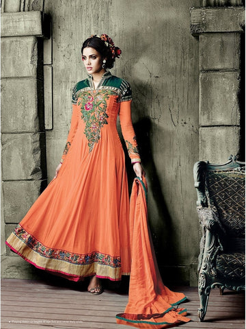 Stylish Orange Color Mandarin Collar Neck Embroidered Georgette Anarkali Suit