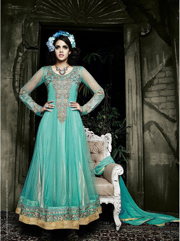 Stylish Sky Blue Color Embroidered Georgette Anarkali Suit